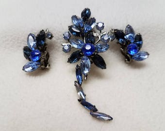 Vintage Blue Brooch and Earrings Demi-Parure Set