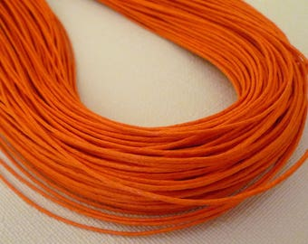 5M thin cord - waxed - Orange - 1 mm