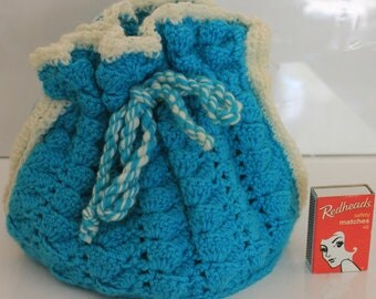 Vintage Aqua Tea Cosy White Trim Hand Made As New Free Size Teapot Cover Drawstring