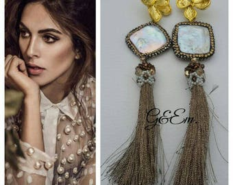 Elegant pendant earrings with dove-grey tassel and Coprinappina worked with beads.