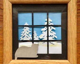 3D Layered Cardstock Winter Scene, 5 x 5, framed