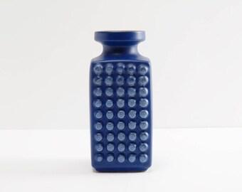 Vintage East German Blue Vase by VEB Haldensleben Form 3058 B Op Art of the '70ies