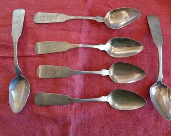 COLONIAL SILVER - set of 6 teaspoons circa 1796