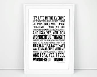 Eric Clapton Print Wonderful Tonight Lyrics song Poster A4 A3 Size  Wall Artwork