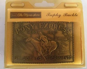 Vtg Sears Mens Store Pony Express Belt Buckle 1860-1861 St. Joe to Sacramento with Box