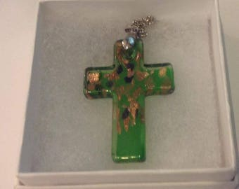 24 inch  Silvertone Chain  with metal clasp & Green art grass cross with gold flex decoration