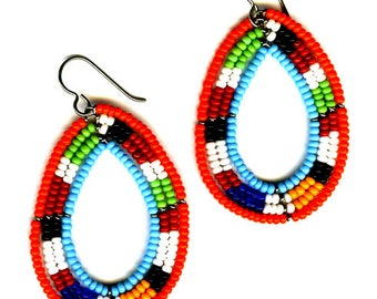 African Maasai Beaded Dangle Earrings | Tribal earrings | Ethnic jewelry | Round Earrings | African Jewelry | Gift for Her