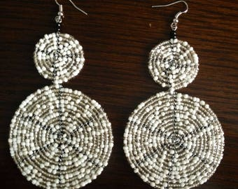 African Maasai Beaded Dangle Earrings   Beaded earrings   Multi color Earrings   Round Earrings   Elegant Earrings   Gift for Her