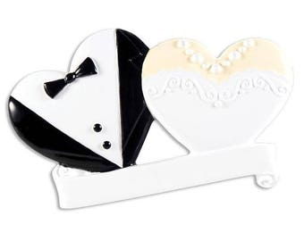Bride & Groom Wedding Cookies Personalized Christmas Ornament