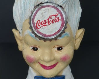 Coca Cola Sprite Boy Hand Painted Cast Iron Money Box