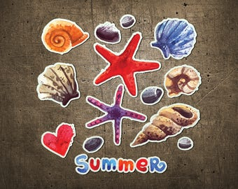 """Printed Chipboard Shapes #002 """"Summer"""""""