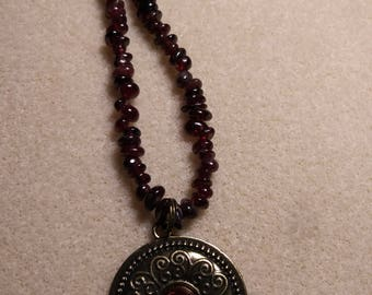 Genuine garnat gemstone 2 piece jewelry set