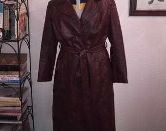 Vintage Long Belted Leather Trench Coat