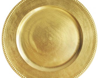 """Round Acrylic Gold Beaded Charger Plate 13"""""""