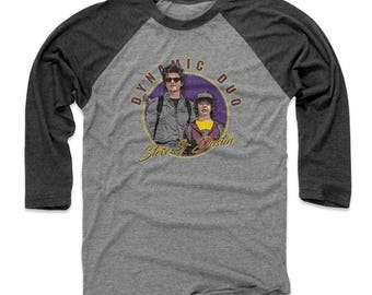 Stranger Things Men's 3/4 Sleeve Shirt | Tv Show Steve Harrington & Dustin Henderson Themed Apparel | Steve And Dustin Dynamic Duo WHT