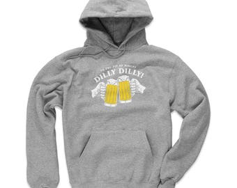 Dilly Dilly Men's Hoodie - Drinking And Bud Light Themed Apparel - Dilly Dilly WHT