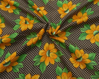 Black-Yellow and Green Flower Design Crepe Fabric-F8058