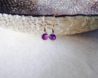 Amethyst earrings/ gemstone earrings/ birthstone earrings/  February birthstone earrings/ delicate amethyst earrings/ amethyst drop earrings