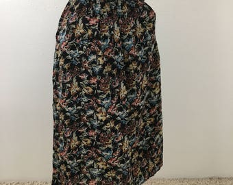 Women's Vintage Floral Print High Waisted Midi Skirt- XS