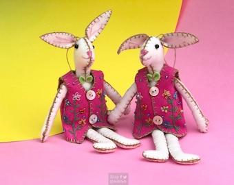 "8"" hand stitched ester bunny hanging / felted rabbit bunny felt decoration / felt hanging ornament chic felt / easter primitive decoration"
