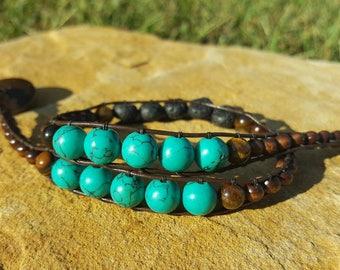 Essential Oil Diffuser Bracelet. dark leather double wrapped beaded bracelet with essential oil diffuser lava rocks