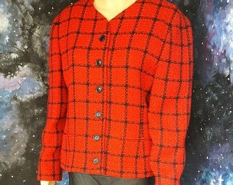 VINTAGE 1990s Red and Black Tweed Boucle Jacket by Viyella MEDIUM FREEUKP&P