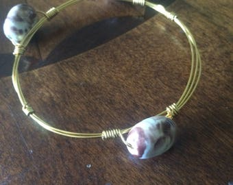 White and Brown Stone Bangle-Gold Wire