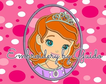 Smiling sofia princess Applique Pattern for Embroidery Machines for 4x4 hoop size - Instant Download