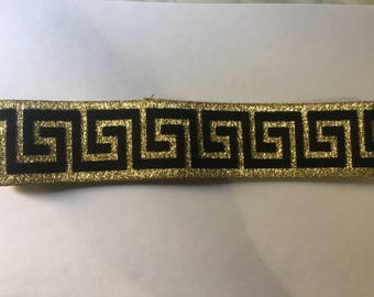 Children's Versace Inspired Headband Designer Plain Headband Shiny Gold  & Black Strap/Fashion Designer Headband