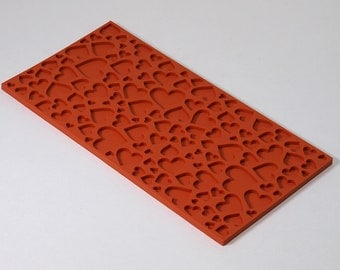 Texture sheet Hearts2, Flexible polymer texture matt, Polymer Clay Texture Plate, Impression Stamp, Texture Stamp for soap