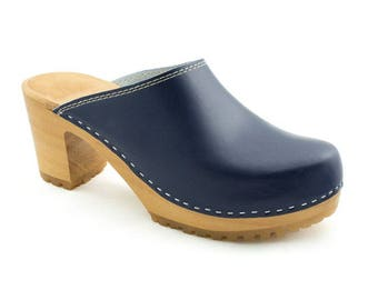 Clogs for women leather sandals wooden sole shoes wood shoes blue shoes women clogs leather clog new clog navy swedish clog platform boots