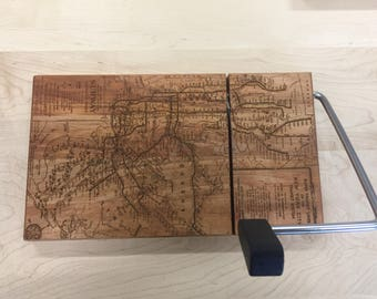 Cheese board, cheese slicer, nyc, butcher block, laser etched