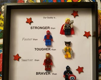Personalised lego marvel dc super hero shadow box frame/ perfect gift for Christmas, birthdays etc