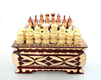 Carved Handmade Chess With High Board, Small Wooden Pieces, For  Professional Players And Home