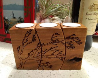 Laser engraved cherry wood tea candle holders