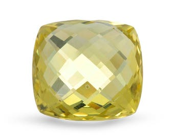 Natural Checkerboard Cut 20x20mm Greenish Yellow Quartz . Approximately 28.65 Carats.