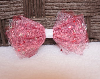 Valentine's Hair Bow, Valentines Day Hair Bow, Tulle Hair Bow, Toddler Hair Bow, Baby Hair Bow,  Hair Accessory, Glitter White Red Hair Bow