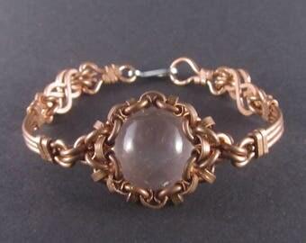 Copper bracelet with milk crystal, unique design!