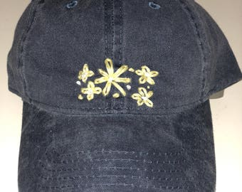 hat with floral embroidery