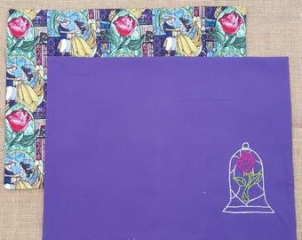 2 Reversible - Beauty and the Beast placemats - Disney - Bell - Disney Princess - hand embroidered - magical rose  -  fairy tale - cotton