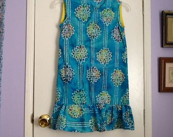 Handmade girls size 7 blue cotton batik dress with drop waist