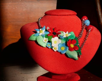 Fantasy Polymer Clay Necklace _ Spring Triumph