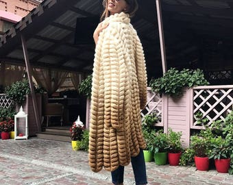 Cappuchino Knit Cardigan, Handmade Knitweat, Soft Cozy Mohair