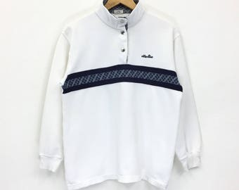Rare!!Vintage Ellesse Perugia Italia Sweatshirt Biglogo Spellout Pullover Jumper sweatshirt Tennis Hiphop