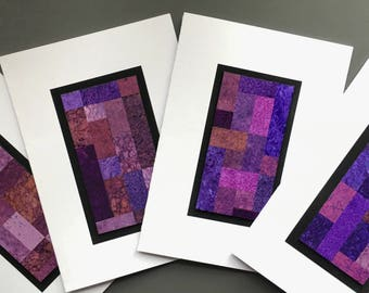 Stained glass quilt blank cards, set of 4, invidually made from hand-painted papers: A6, SKU BLA61007
