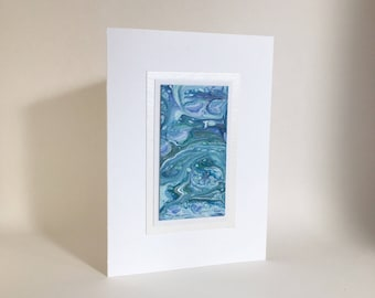 Birthday card: acrylic pour on paper, individually made, not a reproduction, A6, SKU BRA61004