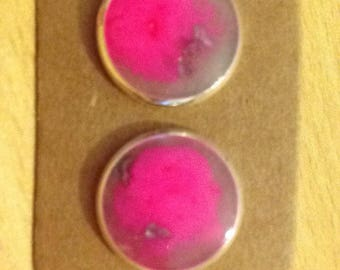 Pink & Silver Studs