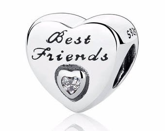 Best Friend 925 Sterling Silver Friendship Heart Charm