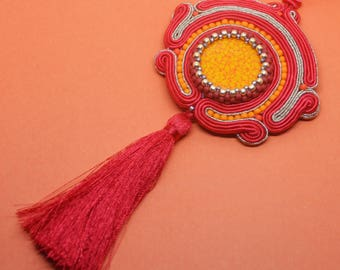 Red orange tassel necklace, Orange soutache pendant, bohemian jewelry necklaces, Extravagant jewellery, UK free shipping, Soutache necklace
