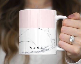 Personalized Custom Name Surname Text Initials Gray Marble Customizable Mug Heat Resistant White Ceramic 11 oz Coffee Tea Mug | C284